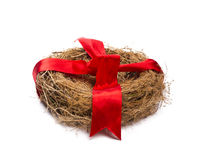 Empty nest with red ribbon. Royalty Free Stock Images