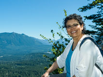 Empty Nester Latina Woman Traveling And Hiking Stock Photography
