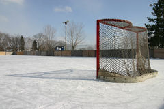Empty Net. Stands on cold outdoor rink Royalty Free Stock Photos