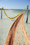 Empty Net Hammocks Tropical Brazilian Beach Sea Royalty Free Stock Photo
