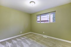 Empty new bedroom with green walls interior. Stock Image