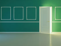 Empty new classic room with opened door. Royalty Free Stock Photo