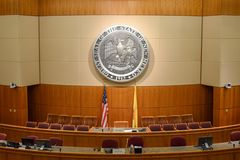Empty New Mexico House of Representatives Chamber in Santa Fe royalty free stock images