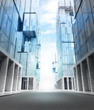 Empty new modern business city street perspective view Royalty Free Stock Image