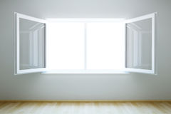 Empty new room with open window. 3d rendering the empty room with open window stock illustration
