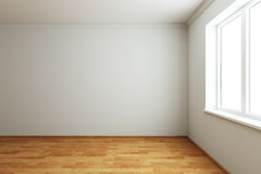 Empty new room with window. 3d rendering the empty room with window stock illustration