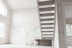 Empty new wooden house interior, stairway Stock Photography
