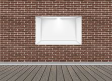 Empty Niche Vector. Realistic Brick Wall. Clean Shelf, Niche, Wall Showcase. Good For Presentations, Display Your Product. Illuminated Light Lamp vector illustration