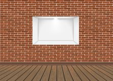 Empty Niche Vector. Realistic Brick Wall. Clean Shelf, Niche, Wall Showcase. Good For Presentations, Display Your Product. Illuminated Light Lamp stock illustration