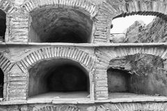 Empty niches. Old empty stone niches on at cemetry royalty free stock image