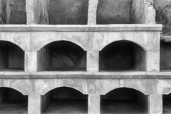 Empty niches. Old empty stone niches on at cemetry royalty free stock photos