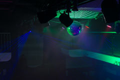 Empty Night Club Lit with Green Spotlights Stock Photography
