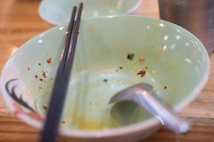 Empty noodle food in bowl. After eating, Thailand food Royalty Free Stock Image