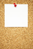 Empty note on cork board Royalty Free Stock Photo