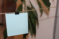 Empty note hanging on a wire Royalty Free Stock Image