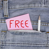 Empty Note in jeans pocket Stock Photography