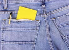 Empty Note in jeans pocket Stock Images