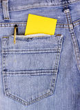 Empty Note in jeans pocket Royalty Free Stock Photography