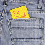 Empty Note in jeans pocket Stock Photo