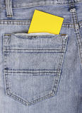 Empty Note in jeans pocket Stock Photos