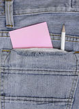 Empty Note in jeans pocket Royalty Free Stock Image