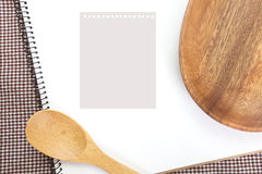 Empty note paper and kitchen utensils Stock Image