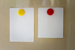 Empty note paper sheet on refrigerator door,The colors notepate Stock Photography