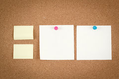 Empty note papers on cork board Stock Image