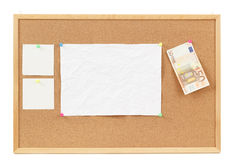 Empty note papers on cork board Royalty Free Stock Photo