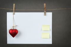 Empty note for valentine message Royalty Free Stock Images