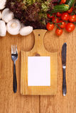 Empty note and vegetables Stock Image