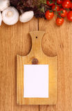 Empty note and vegetables Royalty Free Stock Photos