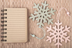Empty notebook and decorative snowflakes, space Royalty Free Stock Photography