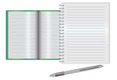 Empty notebook on a desk. With pen lying Royalty Free Stock Photos