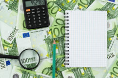 Empty notebook on euro banknotes background Royalty Free Stock Photography
