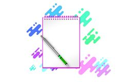 Empty notebook with indigo shapes and dots background you can add any content to. 3d illustration Stock Photography