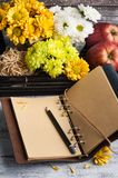 Empty notebook with lit lights and chrysanthemum royalty free stock photos