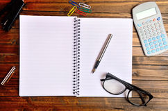 Empty notebook with office supply Stock Images