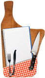 Empty Notebook on Old Wood Cutting Board Royalty Free Stock Photography