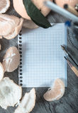 Empty notebook pages and tangerines Stock Photo