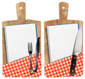 Empty Notebooks on Old Wood Cutting Boards Royalty Free Stock Photos