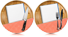 Empty Notebooks on Round Wood Cutting Boards Royalty Free Stock Photos