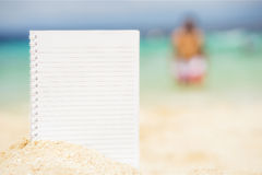 Empty notepad on the background of tropical sea at sunny day Royalty Free Stock Image