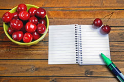 Empty notepad with cherries fruit Stock Images