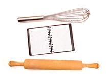 Empty notepad among kitchen utensils Stock Image