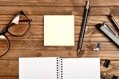 Empty notepad with office tool Stock Images