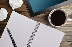 Empty notepad with tablet Stock Photography