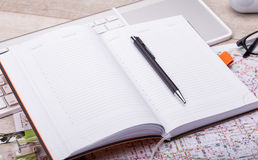 Empty notepad, tablet pc and smart phone Stock Images