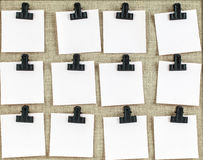 Empty notes clipped to a notice board Royalty Free Stock Images