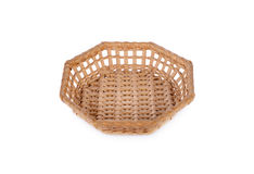 Empty octagon bamboo basket on white background Royalty Free Stock Images